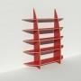 Bibliothèque en bois multiplis chants apparents - Stratifié rouge - Rendu : largeur 1,65 m x hauteur 1,9 m