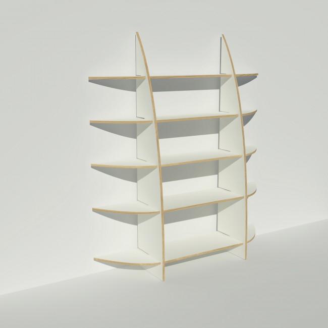 Bibliothèque en bois multiplis chants apparents - Stratifié blanc - Rendu : largeur 1,65 m x hauteur 1,9 m