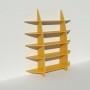 Bibliothèque en bois multiplis chants apparents - Stratifié jaune - Rendu : largeur 1,65 m x hauteur 1,9 m