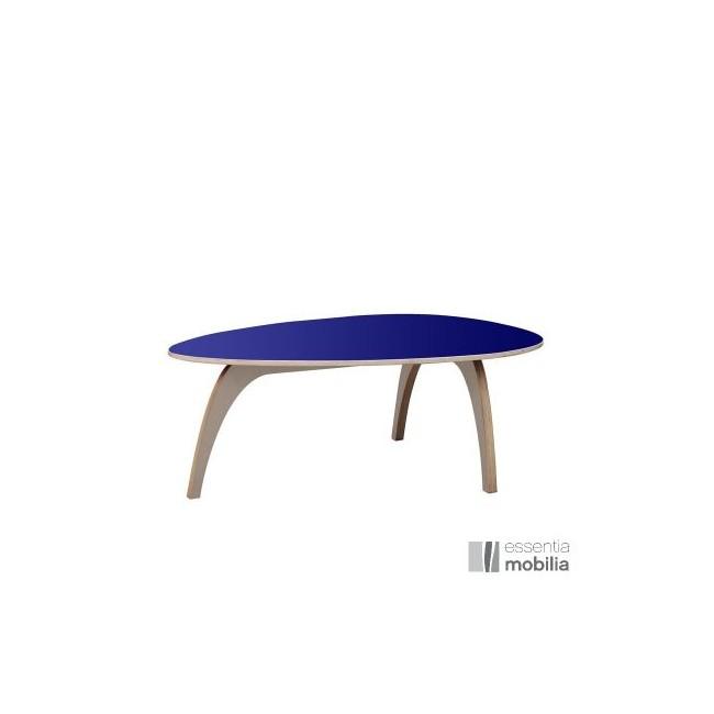 Table basse vintage années 50 - Bois multiplis et stratifié bleu