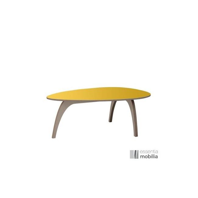 Table basse vintage années 50 - Bois multiplis et stratifié jaune