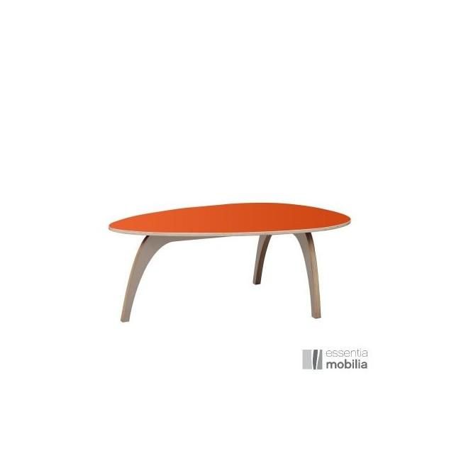 Table basse vintage années 50 - Bois multiplis et stratifié orange