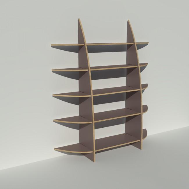 Bibliothèque en bois sur mesure - Stratifié taupe - Rendu : largeur 1,65 m x hauteur 1,9 m