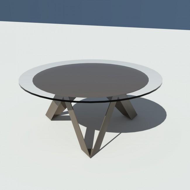 Table basse ronde verre et métal - Taupe - diamètre 90 cm - Rayons