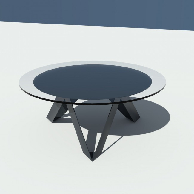 Table basse ronde verre et métal - Anthracite - diamètre 90 cm - Rayons