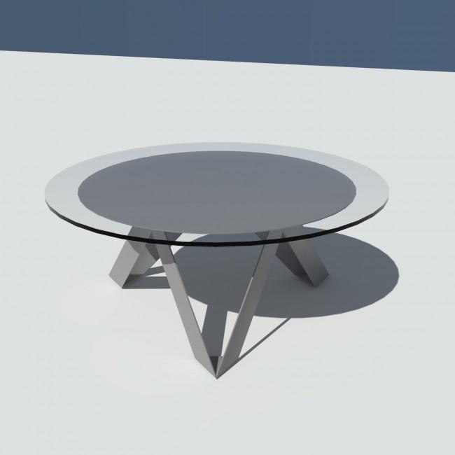 Table basse ronde verre et métal - Grise - diamètre 90 cm - Rayons