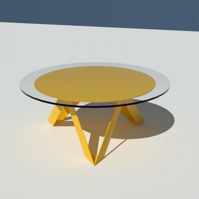 Table basse ronde verre et métal - Jaune - diamètre 90 cm - Rayons