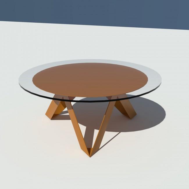 Table basse ronde verre et métal - Laiton-Bronze - diamètre 90 cm - Rayons