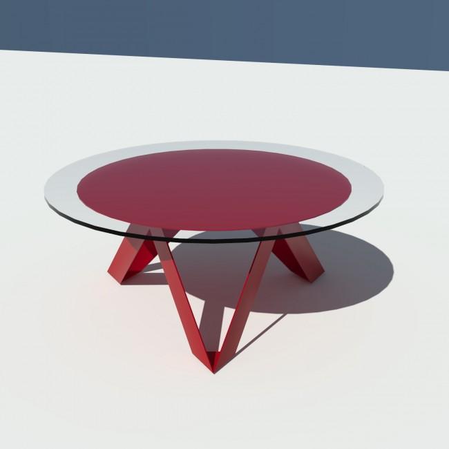Table basse ronde verre et métal - Rouge - diamètre 90 cm - Rayons