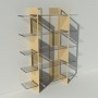 Etagère plexiglas et métal - Beige - Largeur 1,4 m x Hauteur 1,9 m