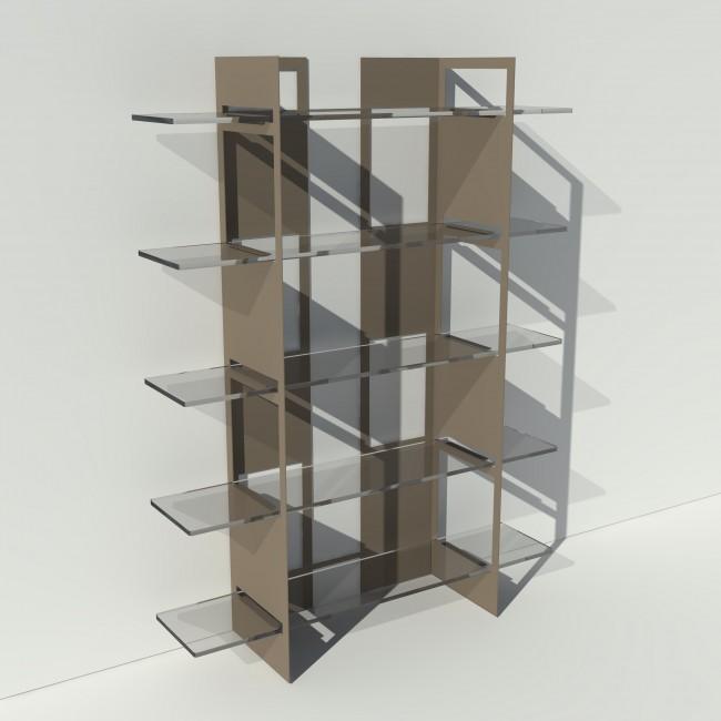 Etagère plexiglas et métal - Taupe - Largeur 1,4 m x Hauteur 1,9 m