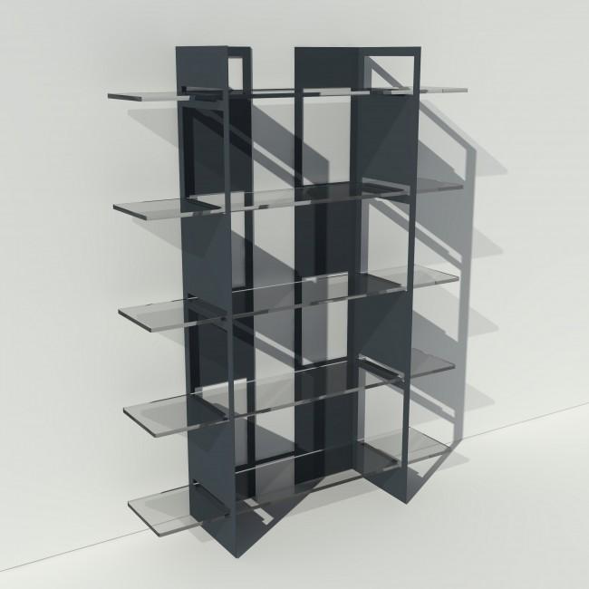Etagère plexiglas et métal - Anthracite - Largeur 1,4 m x Hauteur 1,9 m