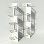 Etagère plexiglas et métal - Blanc - Largeur 1,4 m x Hauteur 1,9 m
