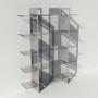 Etagère plexiglas et métal - Gris - Largeur 1,4 m x Hauteur 1,9 m