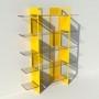 Etagère plexiglas et métal - Jaune - Largeur 1,4 m x Hauteur 1,9 m