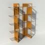 Etagère plexiglas et métal - Laiton-Bronze - Largeur 1,4 m x Hauteur 1,9 m