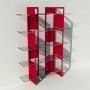 Etagère plexiglas et métal - Rouge - Largeur 1,4 m x Hauteur 1,9 m