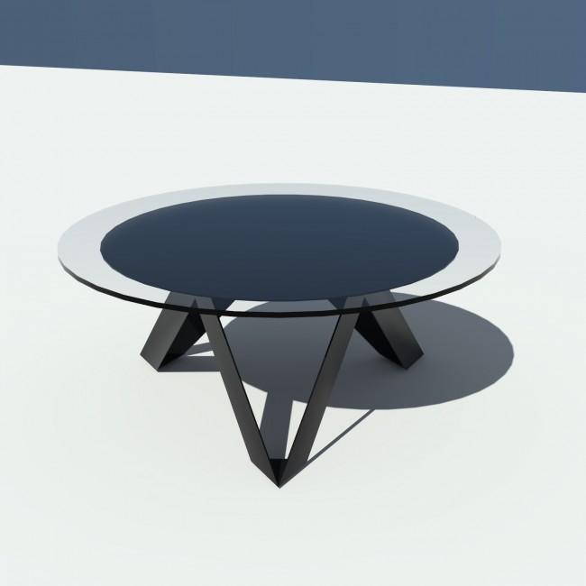 Table basse ronde verre et métal - Noire - diamètre 90 cm - Rayons