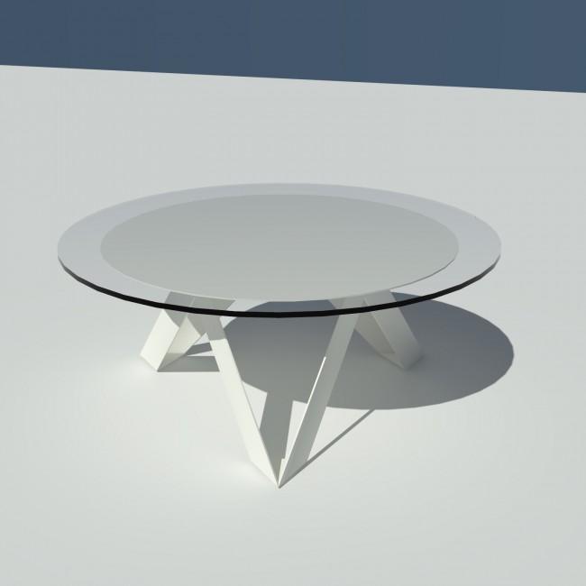 Table basse ronde verre et métal - Blanche - diamètre 90 cm - Rayons