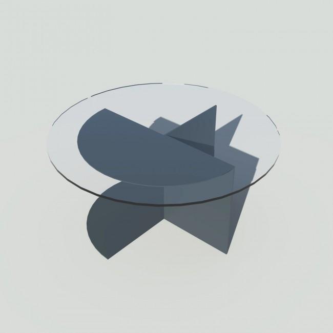 Table basse ronde 70 cm verre et métal sur mesure - Eclipse