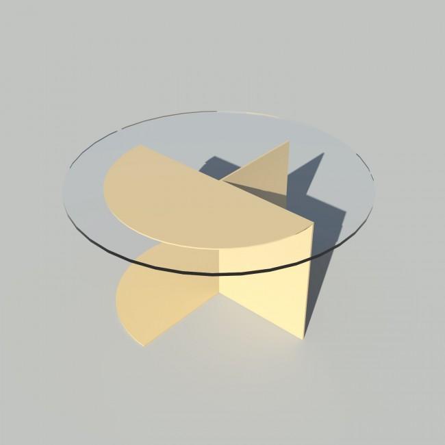 Table basse ronde verre et métal - Beige - Plateau 70 cm - Eclipse