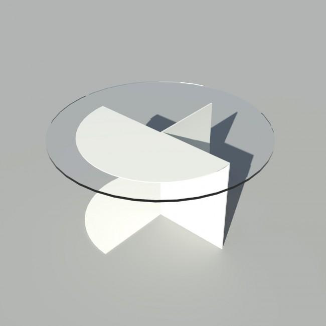 Table basse ronde verre et métal - Blanc - Plateau 70 cm - Eclipse