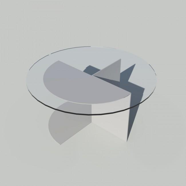Table basse ronde verre et métal - Gris - Plateau 70 cm - Eclipse