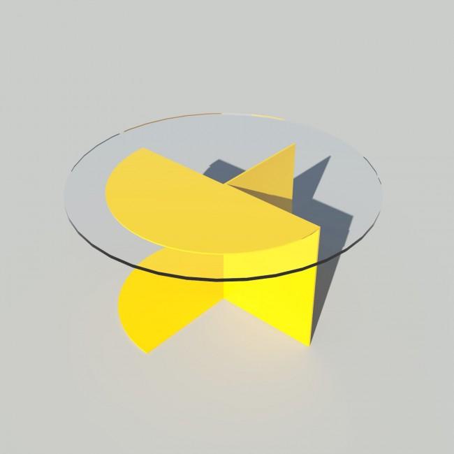Table basse ronde verre et métal - Jaune - Plateau 70 cm - Eclipse