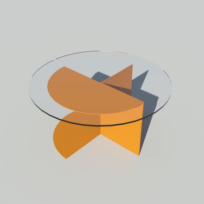 Table basse ronde verre et métal - Laiton-Bronze - Plateau 70 cm - Eclipse
