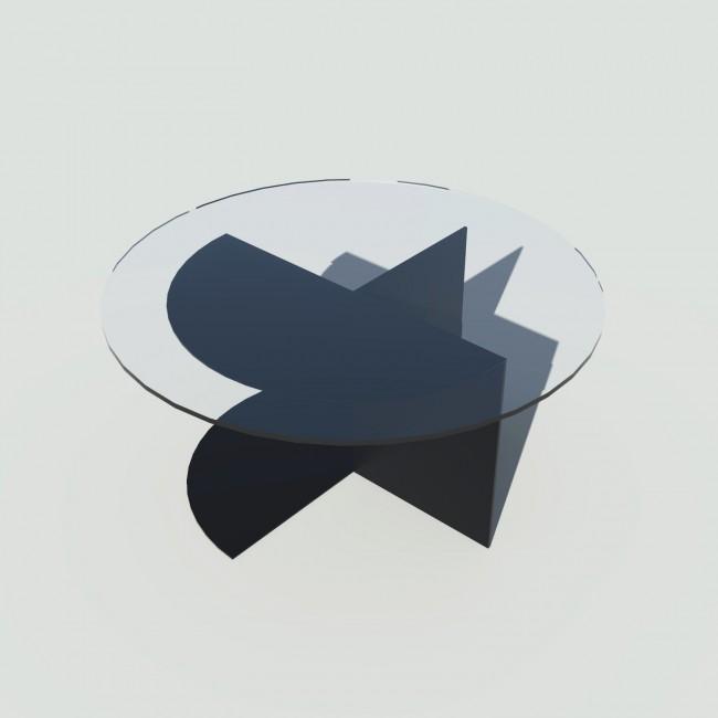 Table basse ronde verre et métal - Noire - Plateau 70 cm - Eclipse