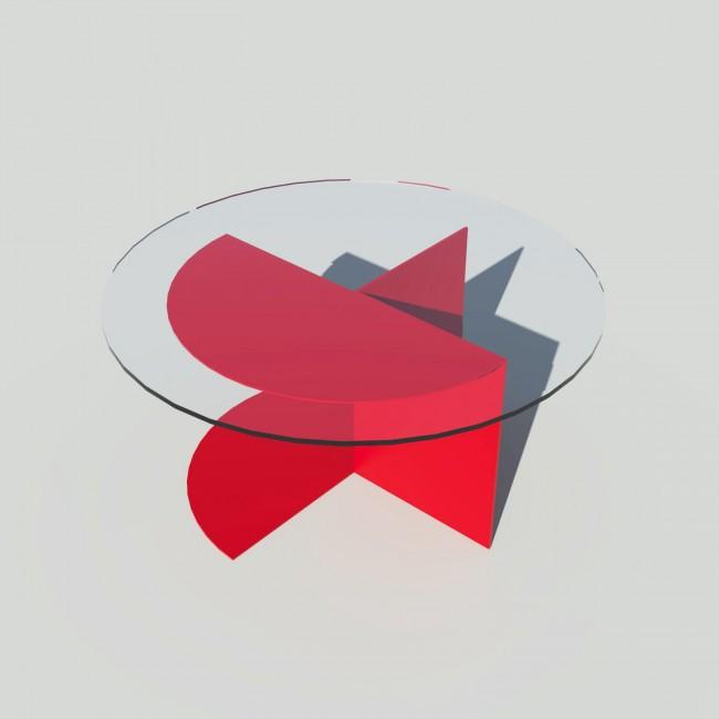 Table basse ronde verre et métal - Rouge - Plateau 70 cm - Eclipse