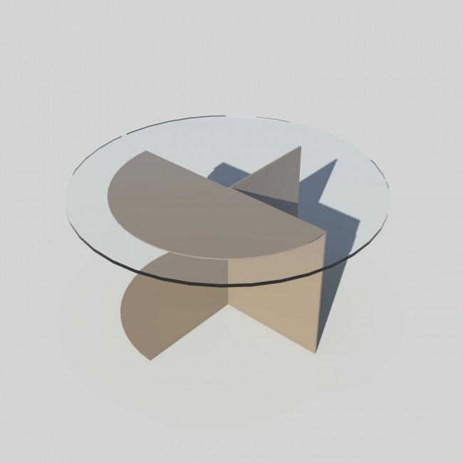 Table basse ronde verre et métal - Taupe - Plateau 70 cm - Eclipse