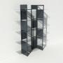 Vitrine en verre et métal - Anthracite - Largeur 1,4 m x Hauteur 1,9 m