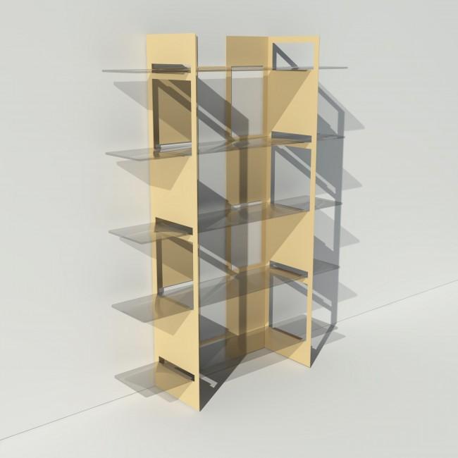 Vitrine en verre et métal - Beige - Largeur 1,4 m x Hauteur 1,9 m