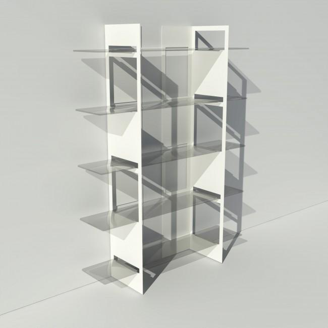 Vitrine en verre et métal - Blanc - Largeur 1,4 m x Hauteur 1,9 m