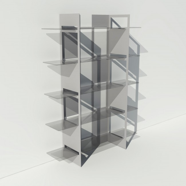 Vitrine en verre et métal - Gris - Largeur 1,4 m x Hauteur 1,9 m