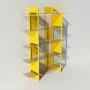 Vitrine en verre et métal - Jaune - Largeur 1,4 m x Hauteur 1,9 m