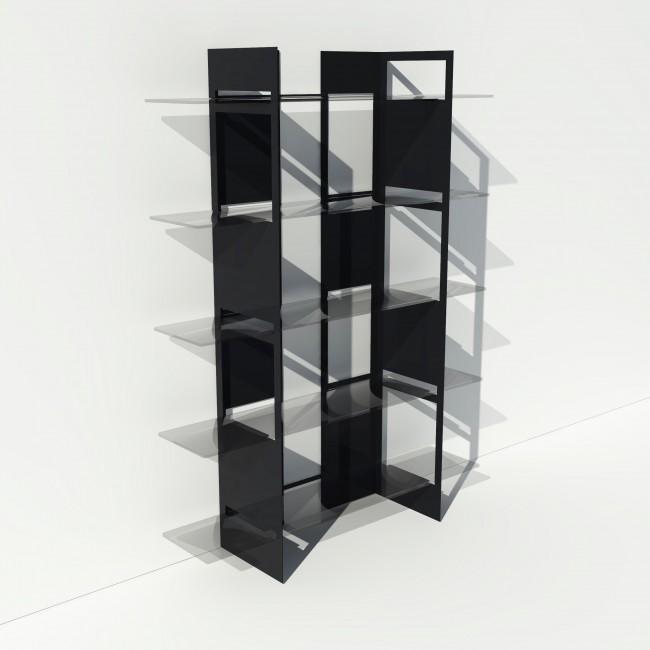 Vitrine en verre et métal - Noir - Largeur 1,4 m x Hauteur 1,9 m