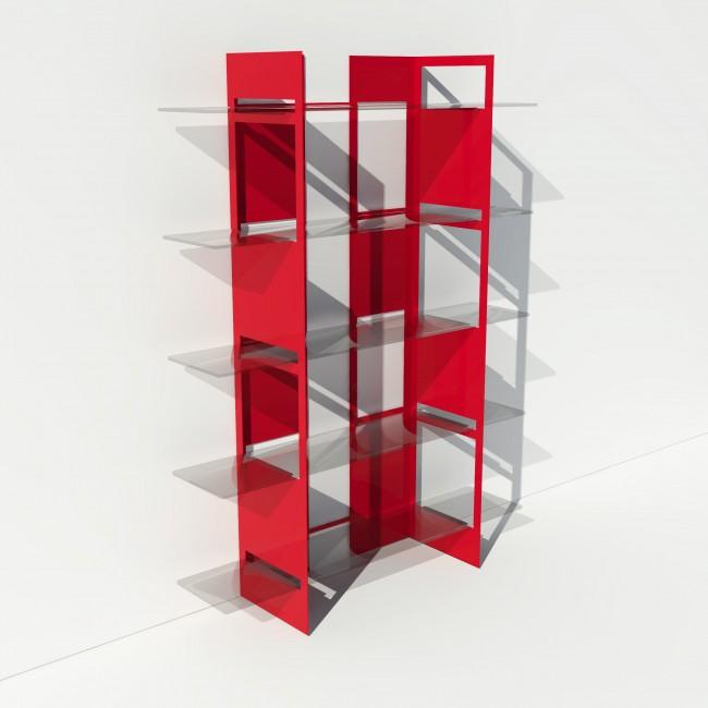 Vitrine en verre et métal - Rouge - Largeur 1,4 m x Hauteur 1,9 m