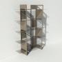 Vitrine en verre et métal - Taupe - Largeur 1,4 m x Hauteur 1,9 m