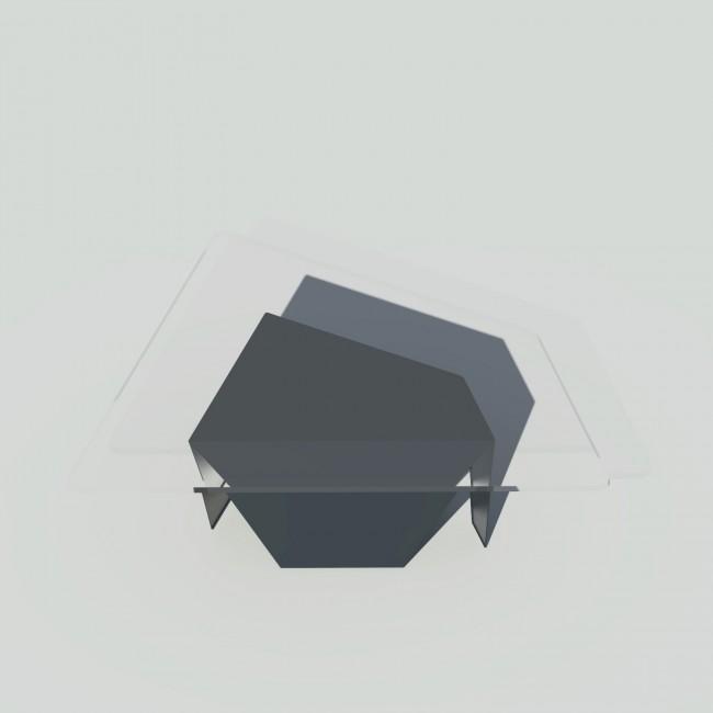 Table basse verre et métal - Anthracite - Plateau trapèze - Roc