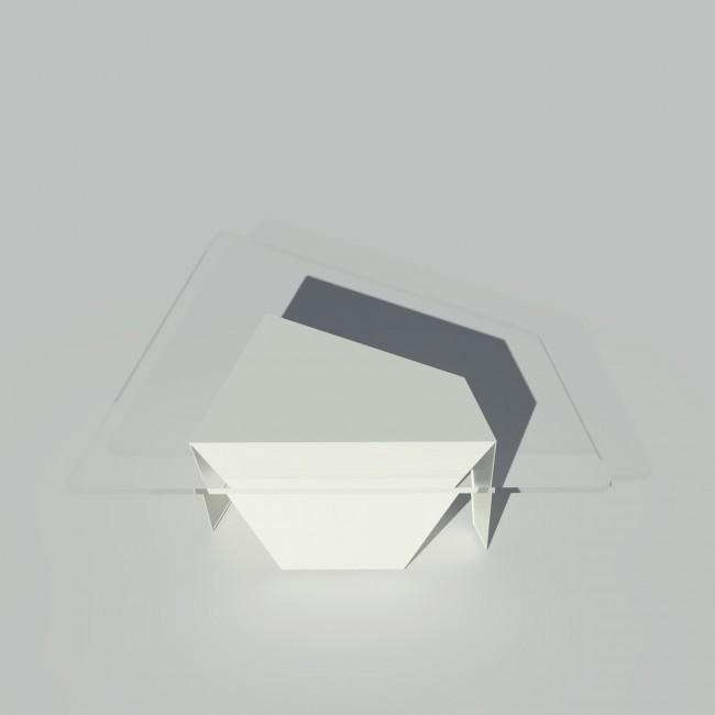 Table basse verre et métal - Blanche - Plateau trapèze - Roc