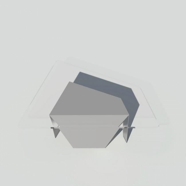 Table basse verre et métal - Grise - Plateau trapèze - Roc