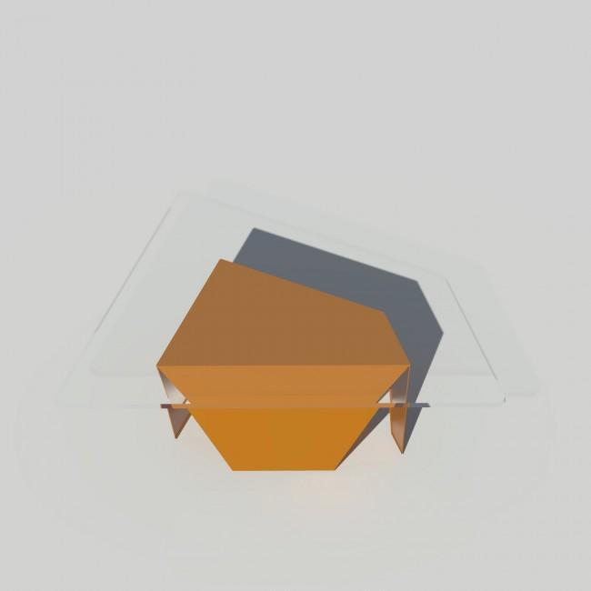 Table basse verre et métal - Laiton-Bronze - Plateau trapèze - Roc