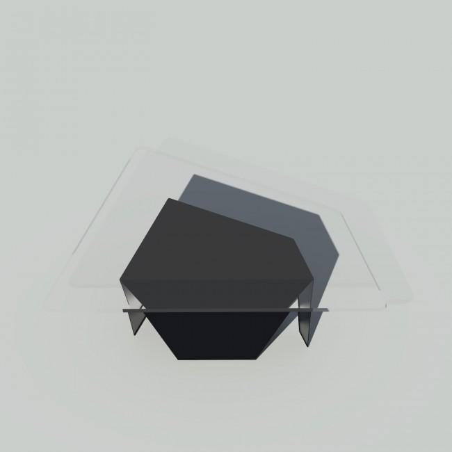 Table basse verre et métal - Noire - Plateau trapèze - Roc