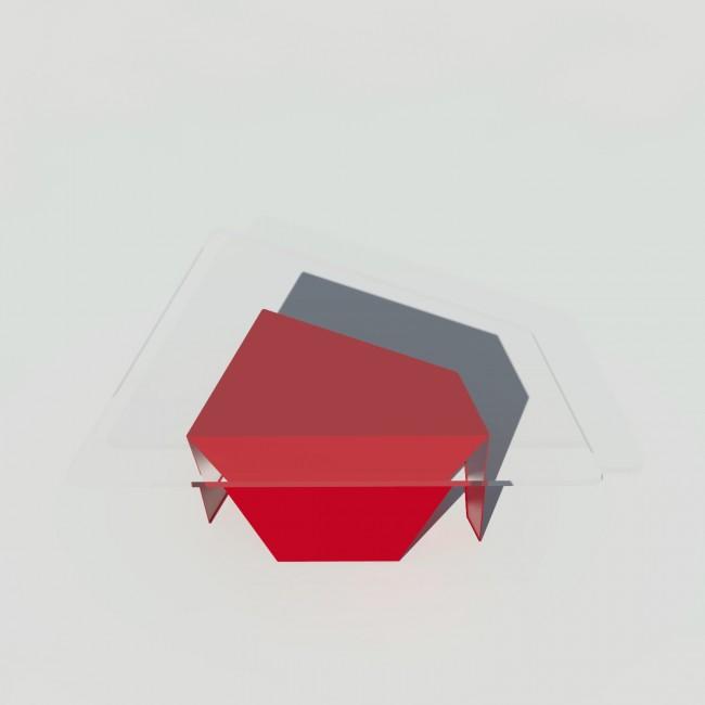 Table basse verre et métal - Rouge - Plateau trapèze - Roc