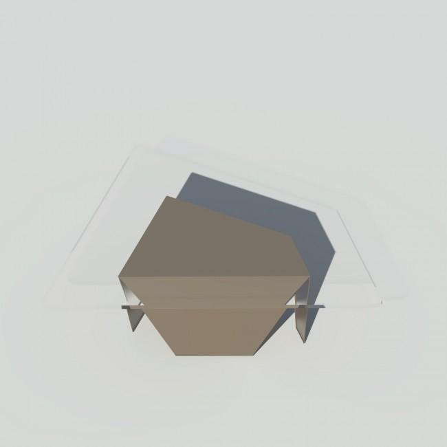 Table basse verre et métal - Taupe - Plateau trapèze - Roc