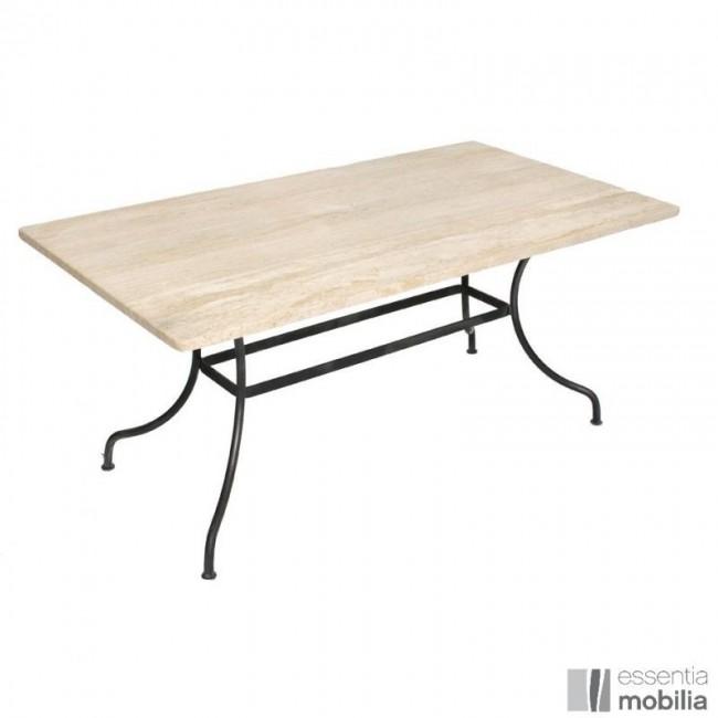 Table rectangulaire avec piètement en fer forgé et plateau marbre / granit sur mesure