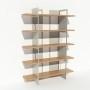 Bibliothèque placage chêne et métal - Blanc - Larg 1,4 m x Haut 1,9 m