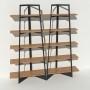 Bibliothèque placage chêne - Anthracite - 2 m largeur x 2,05 m hauteur
